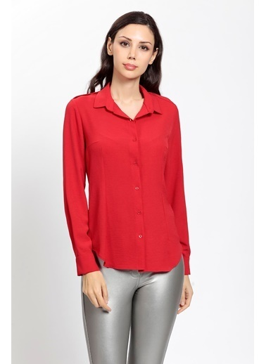 Vitrin Omuzları Apoletli Klasik Gömlek Kırmızı